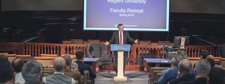 The Regent University faculty retreat.