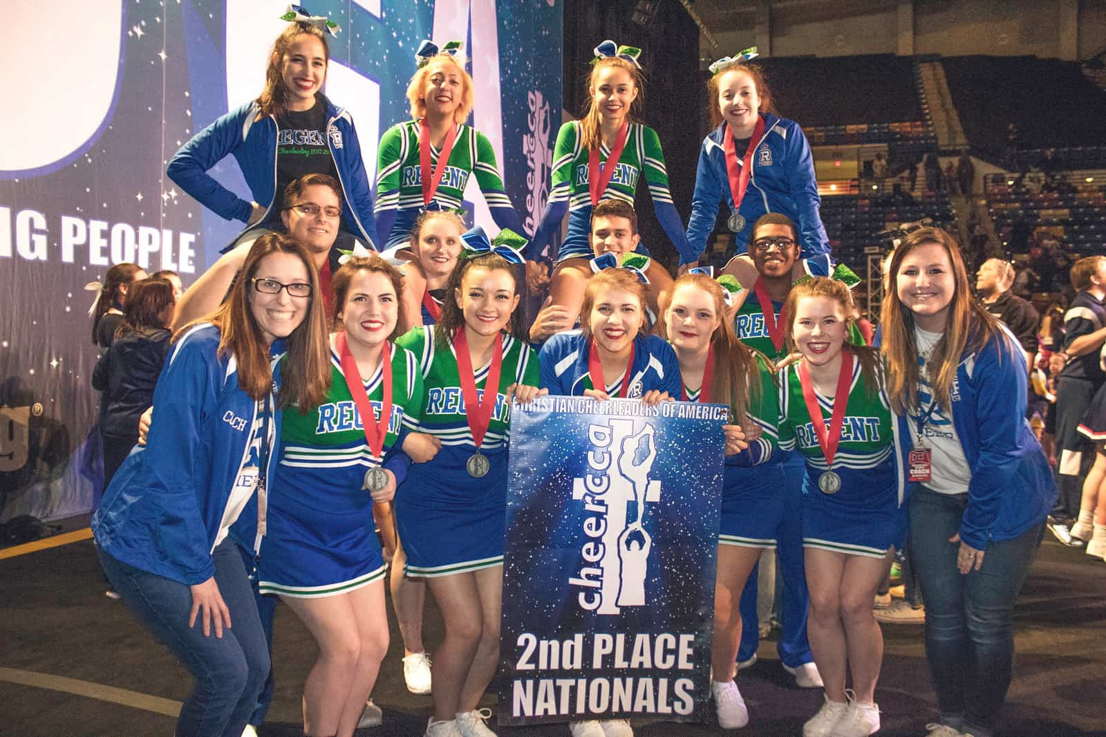 Regent Royals Cheerleaders won second place at the 2018 CCA National Competition.