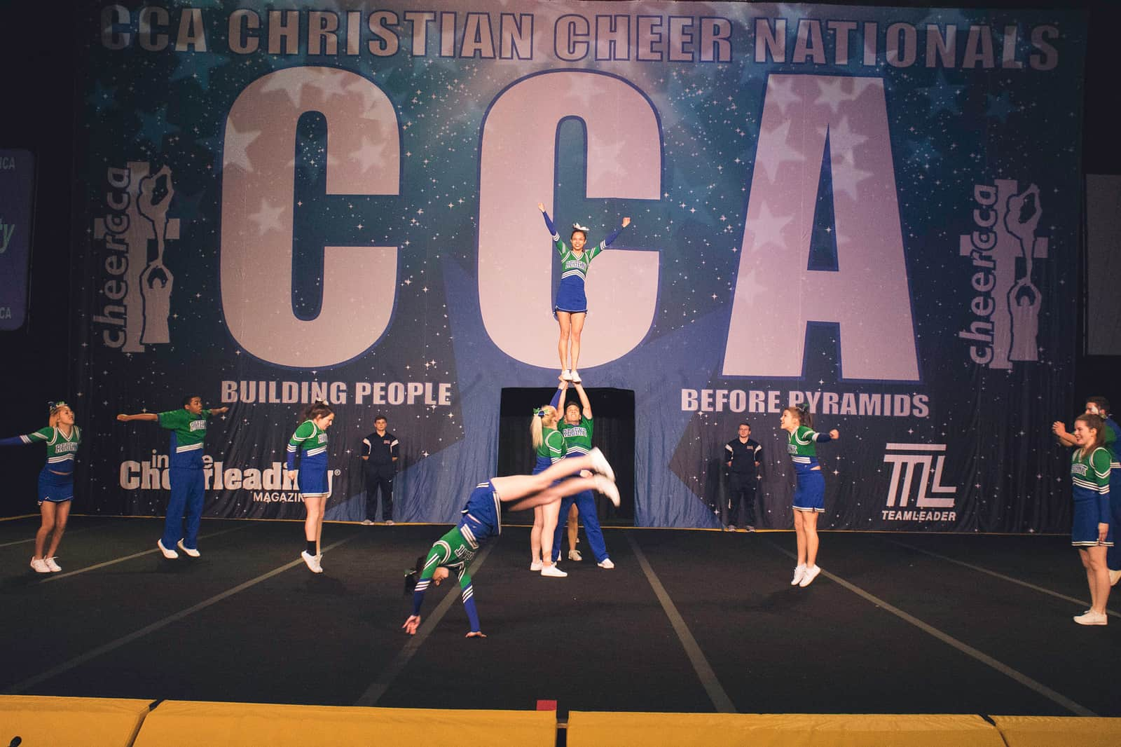 Regent Royals Cheerleaders at the 2018 Christian Cheerleaders of America (CCA) National Competition.