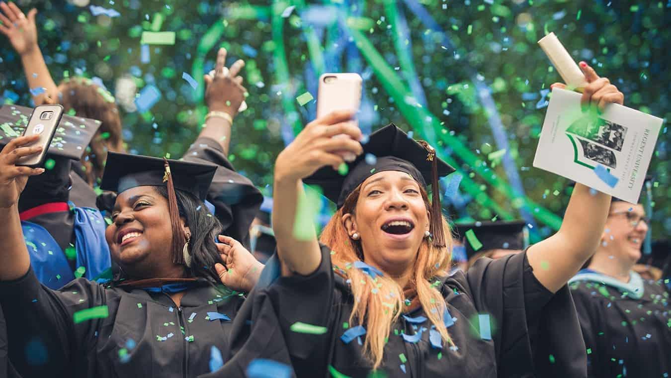 Graduates during Regent University's commencement ceremony in Virginia Beach.