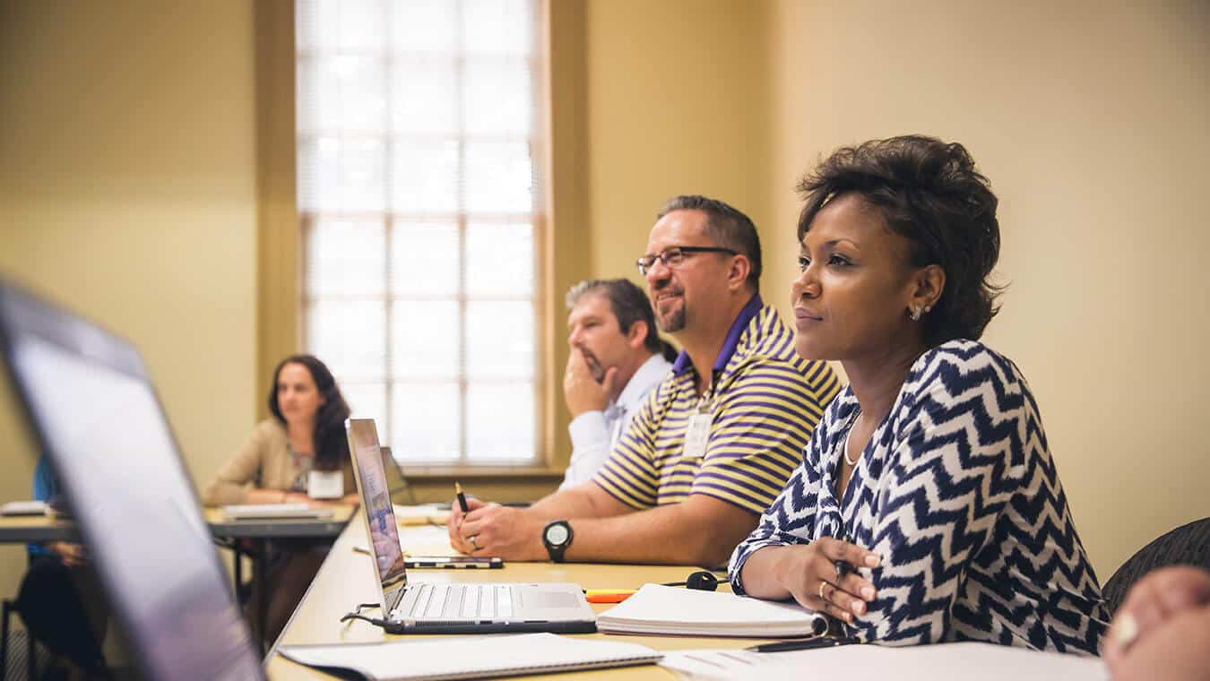 Students in a class: Explore Regent's online master's in psychology – doctoral preparation program.