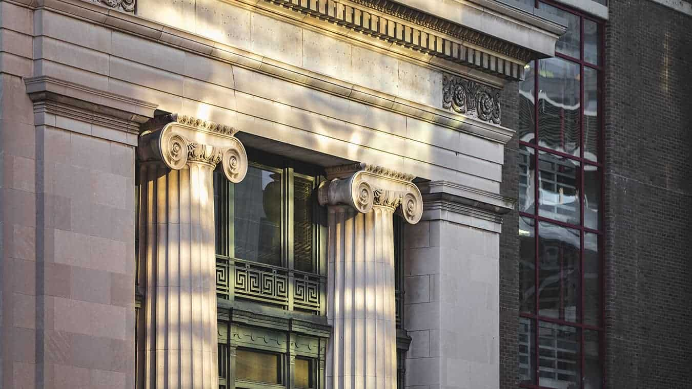 Architectural details of a building: Explore the MA in Government - American Government degree program offered by Regent University.