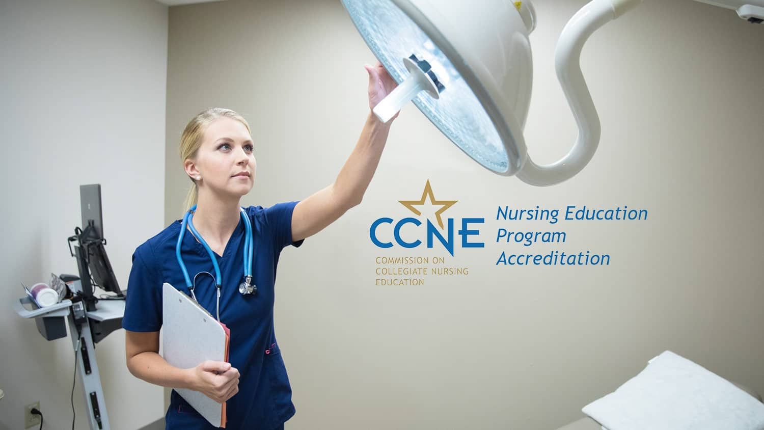 A nurse adjusts equipment: Be equipped to excel through Regent University's RN to B.S. in Nursing degree program.