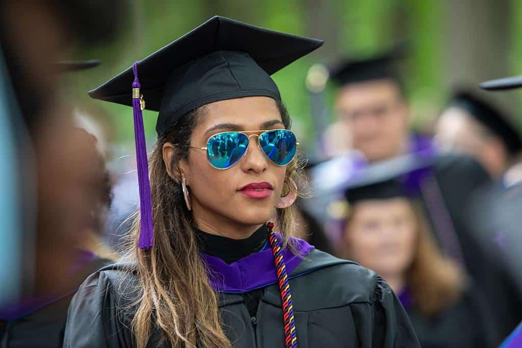 A graduate at Regent University's 2019 commencement ceremony.