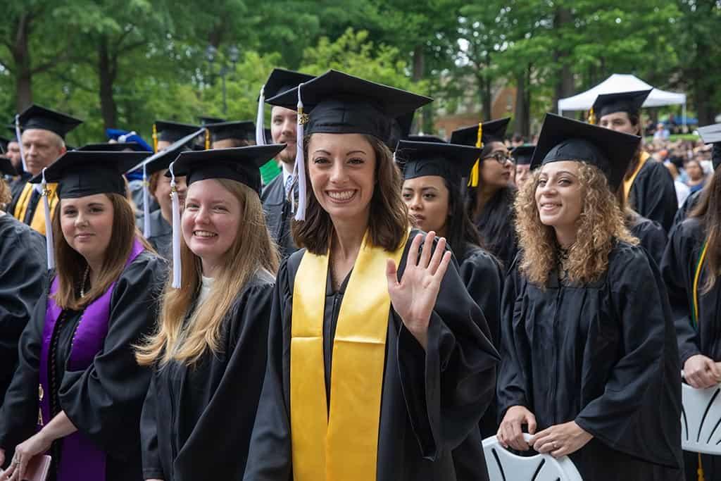 Proud graduates during Regent University's 2019 commencement ceremony.