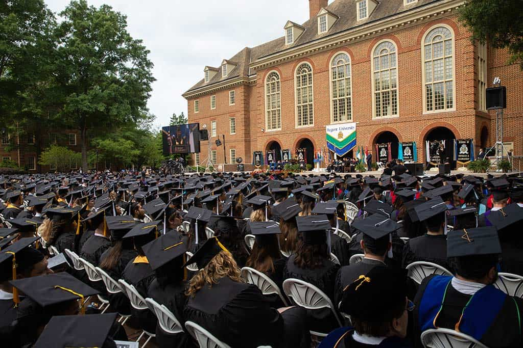 Graduates during Regent University's beautiful commencement ceremony.