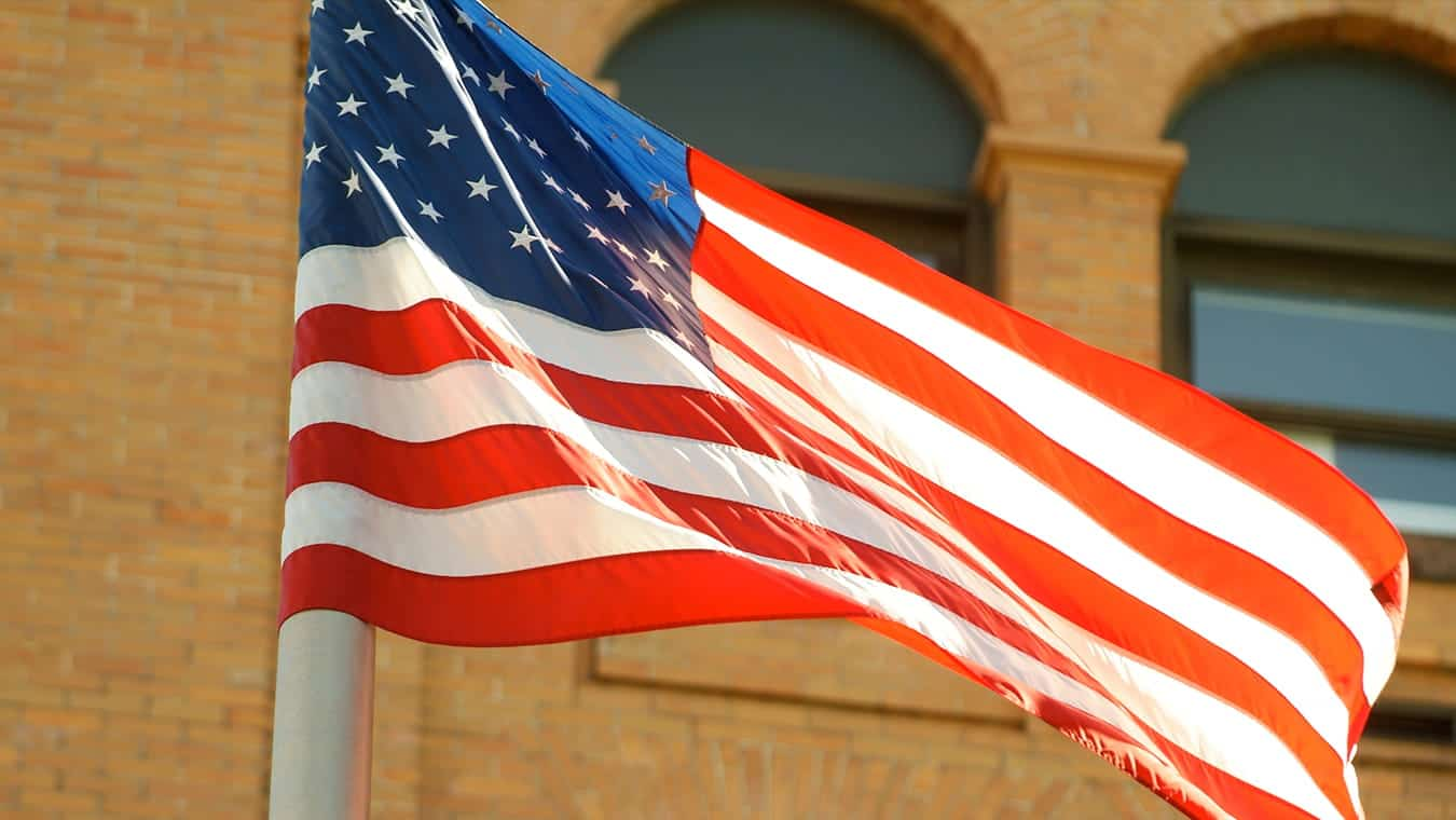The American flag: Regent University offers a homeland security minor online and in Virginia Beach, VA 23464.