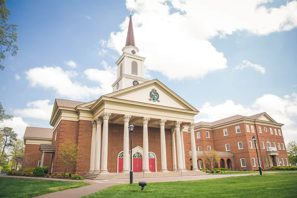 The beautiful chapel of Regent, a premier Christian university located in Virginia Beach, VA, USA.