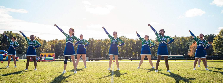 Cheerleaders at Regent University's 16th annual Chili Bowl.