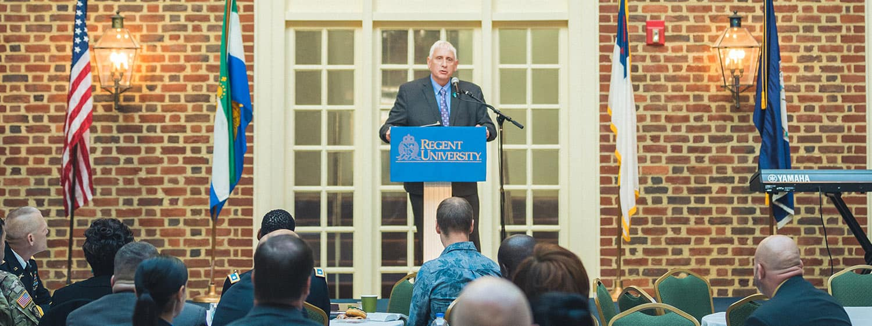 Virginia Beach Mayor Bobby Dyer spoke at the Annual Veterans Prayer Breakfast in 2020.