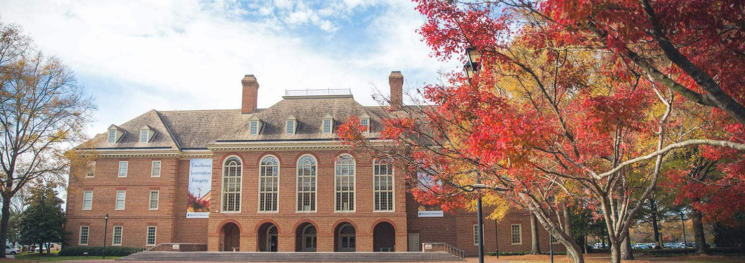 The library building and fall colors at Regent University's beautiful campus in Virginia Beach, VA 23464.