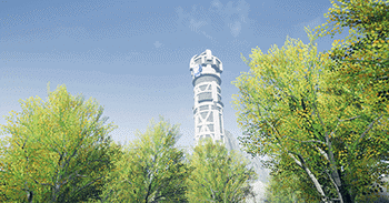 A tower scene from Ascent, a game developed by students at Regent University.