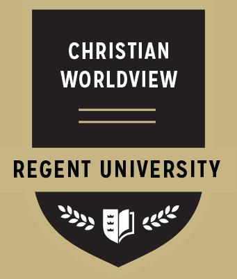 The Christian Worldview badge of Regent University.