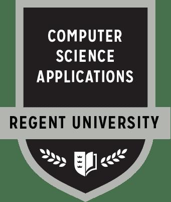 The Computer Science Applications badge of Regent University.