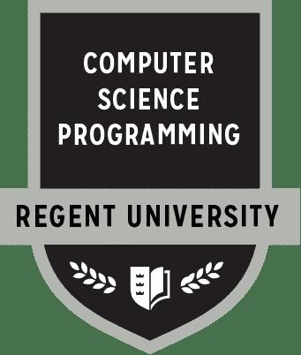 The Computer Science Programming badge of Regent University.