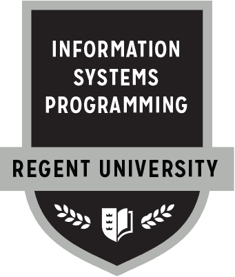 The Information Systems Programming badge of Regent University.