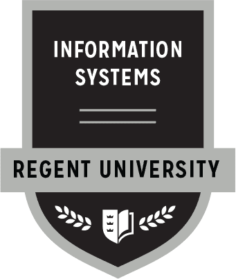 The Information Systems badge of Regent University.
