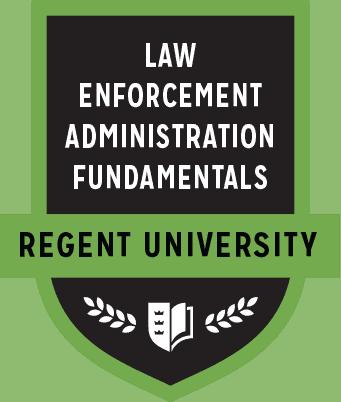 The Law Enforcement Administration Fundamentals badge of Regent University.