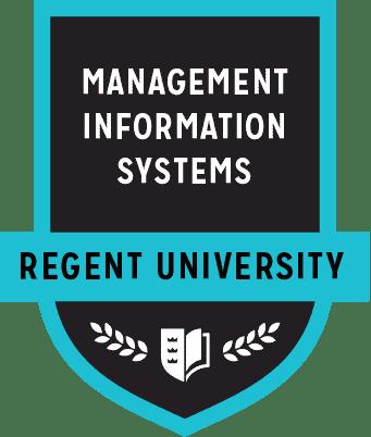 The Management Information Systems badge of Regent University.