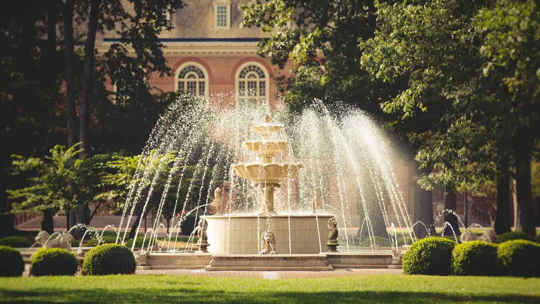 The fountain at Regent University's beautiful campus in Virginia Beach, VA 23464.