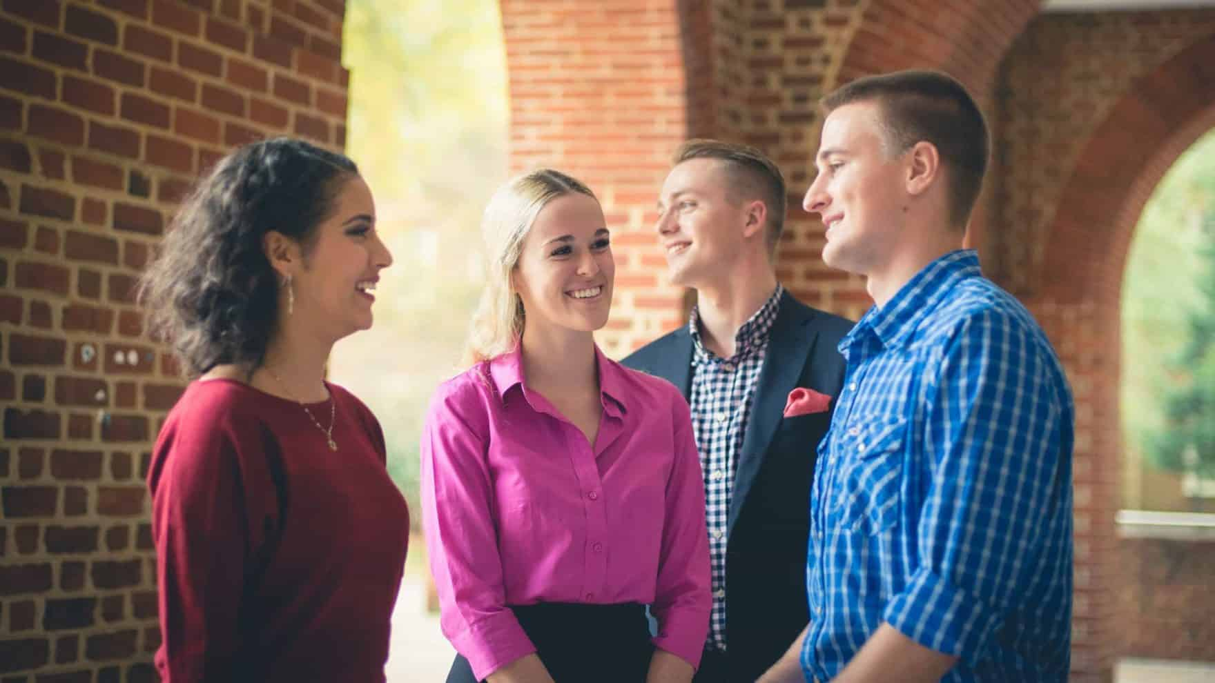 Students interact at Regent University, which offers psychology and counseling degree programs.