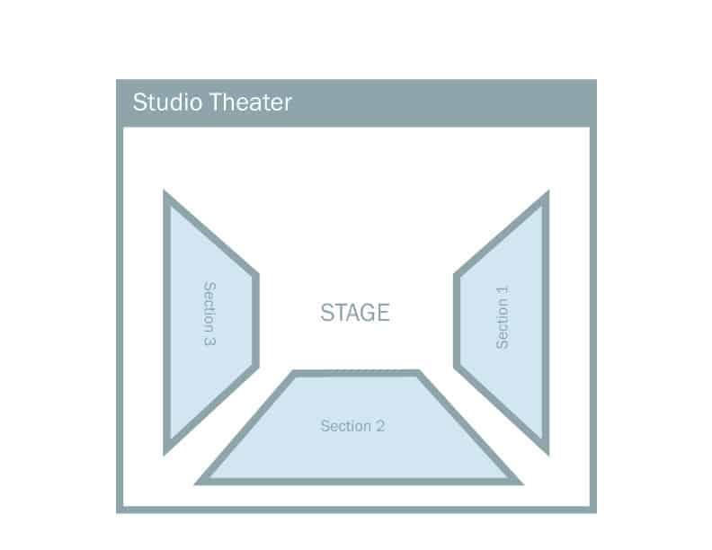 Seating chart of Regent University's studio theatre, Virginia Beach.
