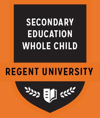 The Secondary Ed. Whole Child badge of Regent University.