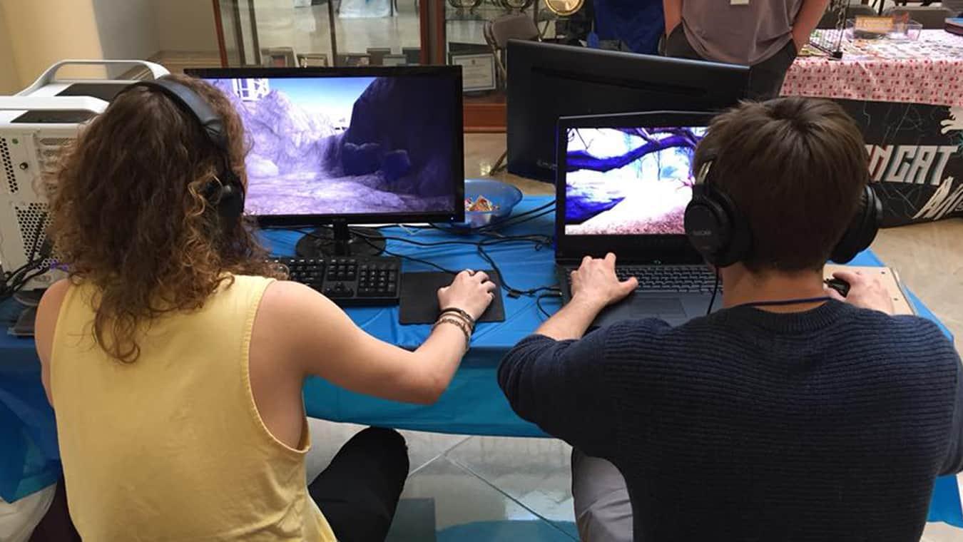 Students work at Sessho, Regent University's Student Game Development Studio.