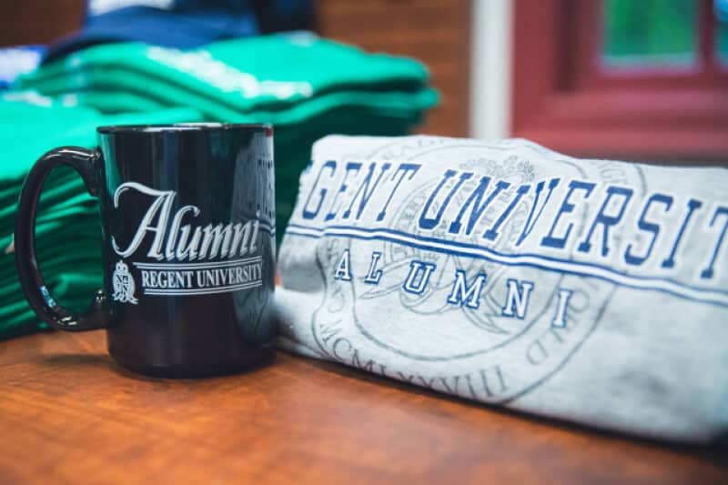 Regent alumni items offered by the Regent University Gift Shop.