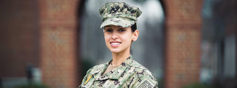 Natasha Moore, a military veteran student of Regent University, Virginia Beach.