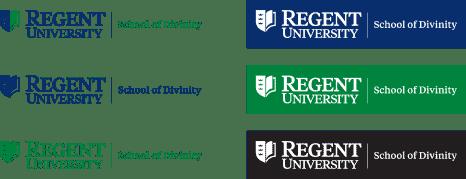 An example of Regent University's sub-brand logo lockup.