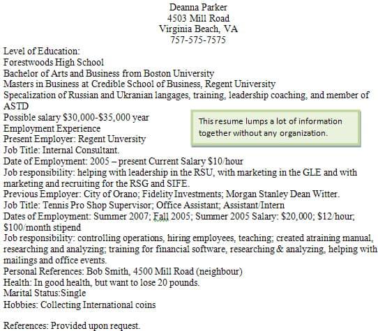 Bad Resume Examples For Students: Good Vs. Bad Resumés
