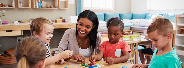 A teacher in an early childhood education class.