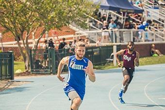 A Regent University athlete at a competition.