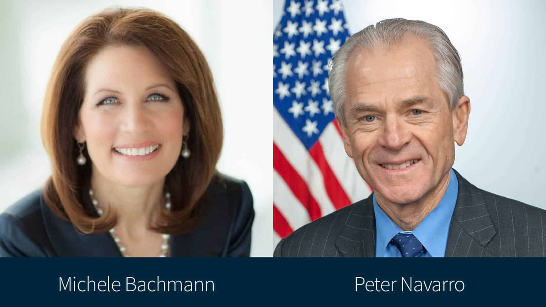 Michele Bachmann and Peter Navarro, the moderator and speaker of Regent University's election integrity online conference.