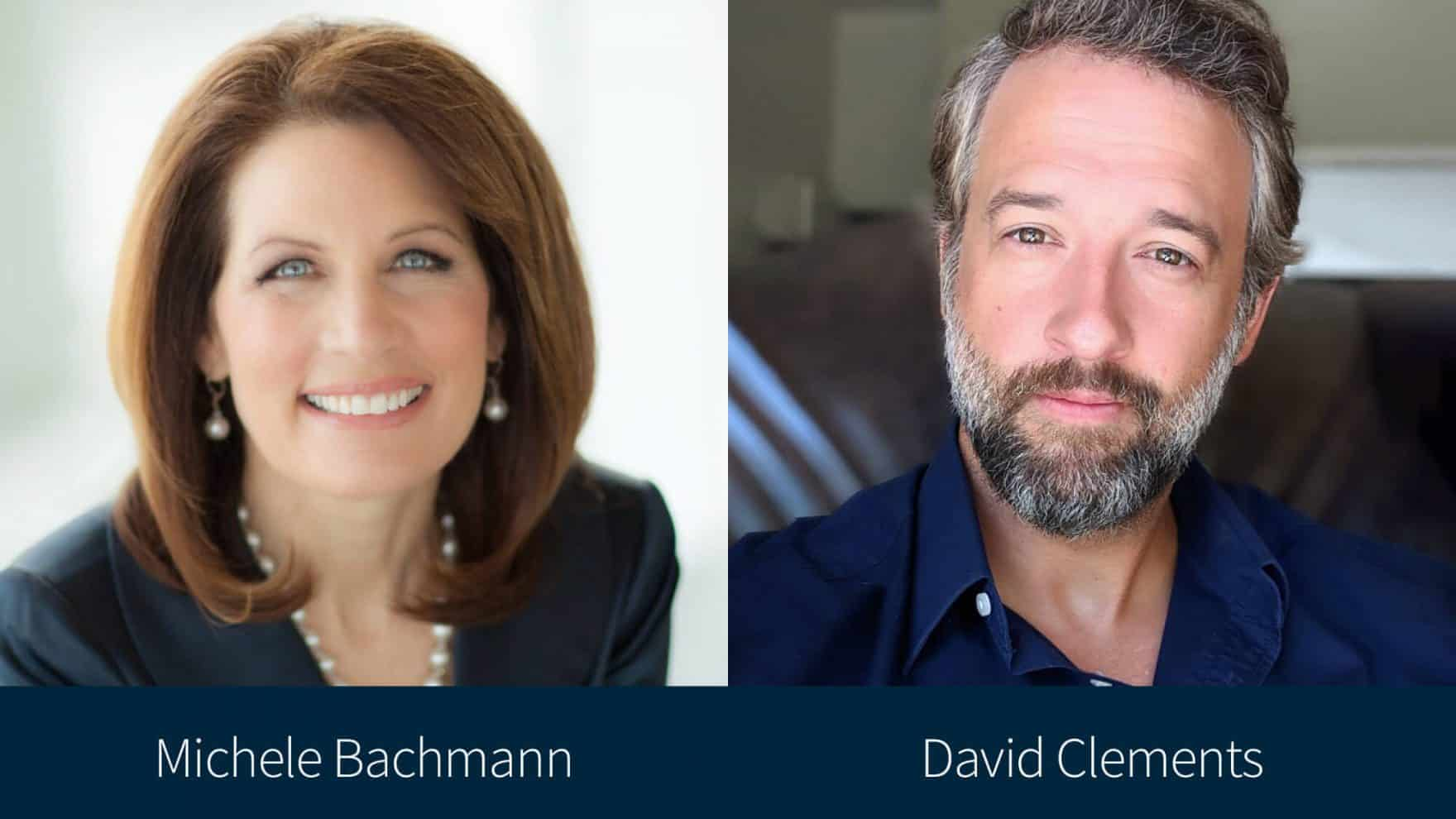 Michele Bachmann and David Clements, the moderator and a speaker of Regent University's conference on election integrity.