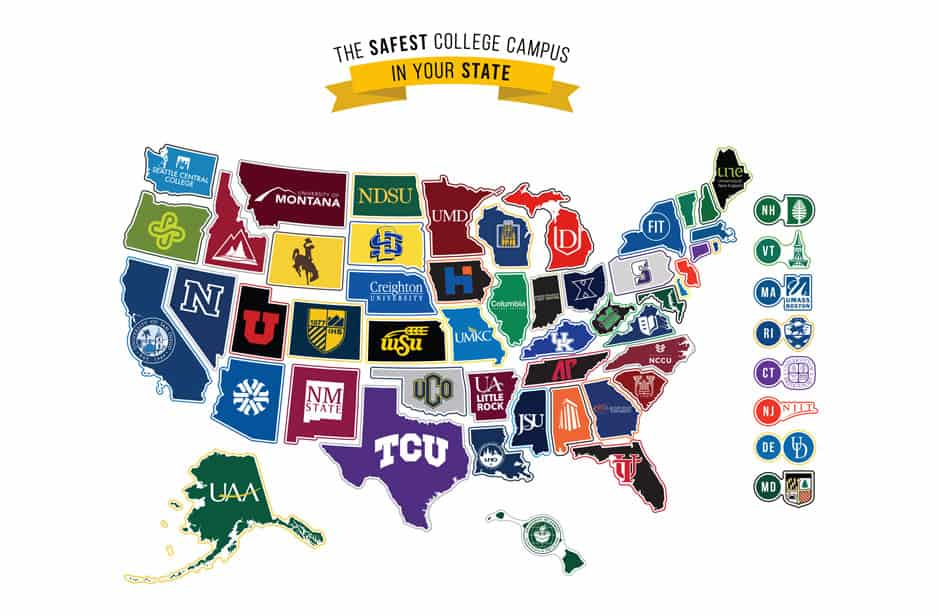 The safest college campus in your state: A map of USA that shows the safest college campus by state.