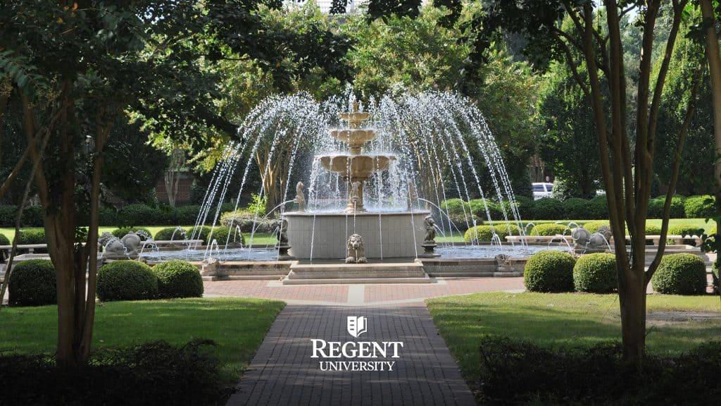 The fountain on Regent University's beautiful campus in Virginia Beach, VA 23464.