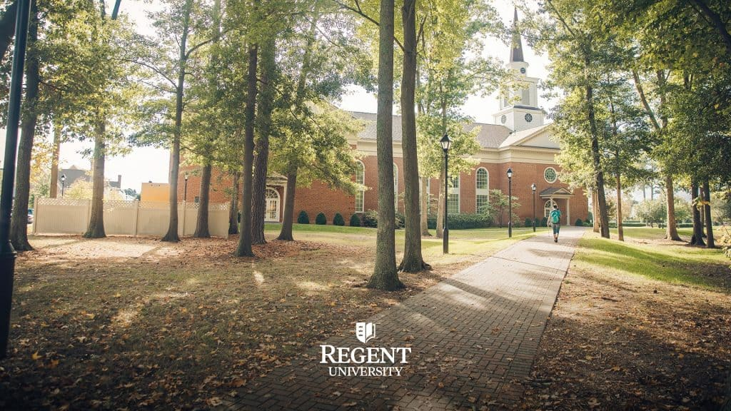 The path leading to Regent University's Student Center.