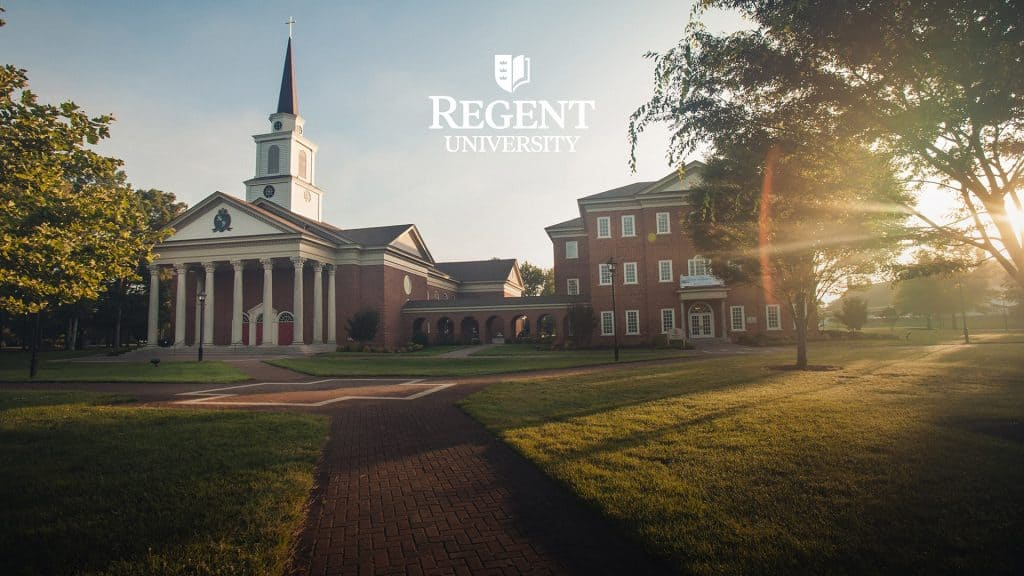 The chapel, Divinity Building and Welcome Center of Regent University, a Christian college in Virginia.
